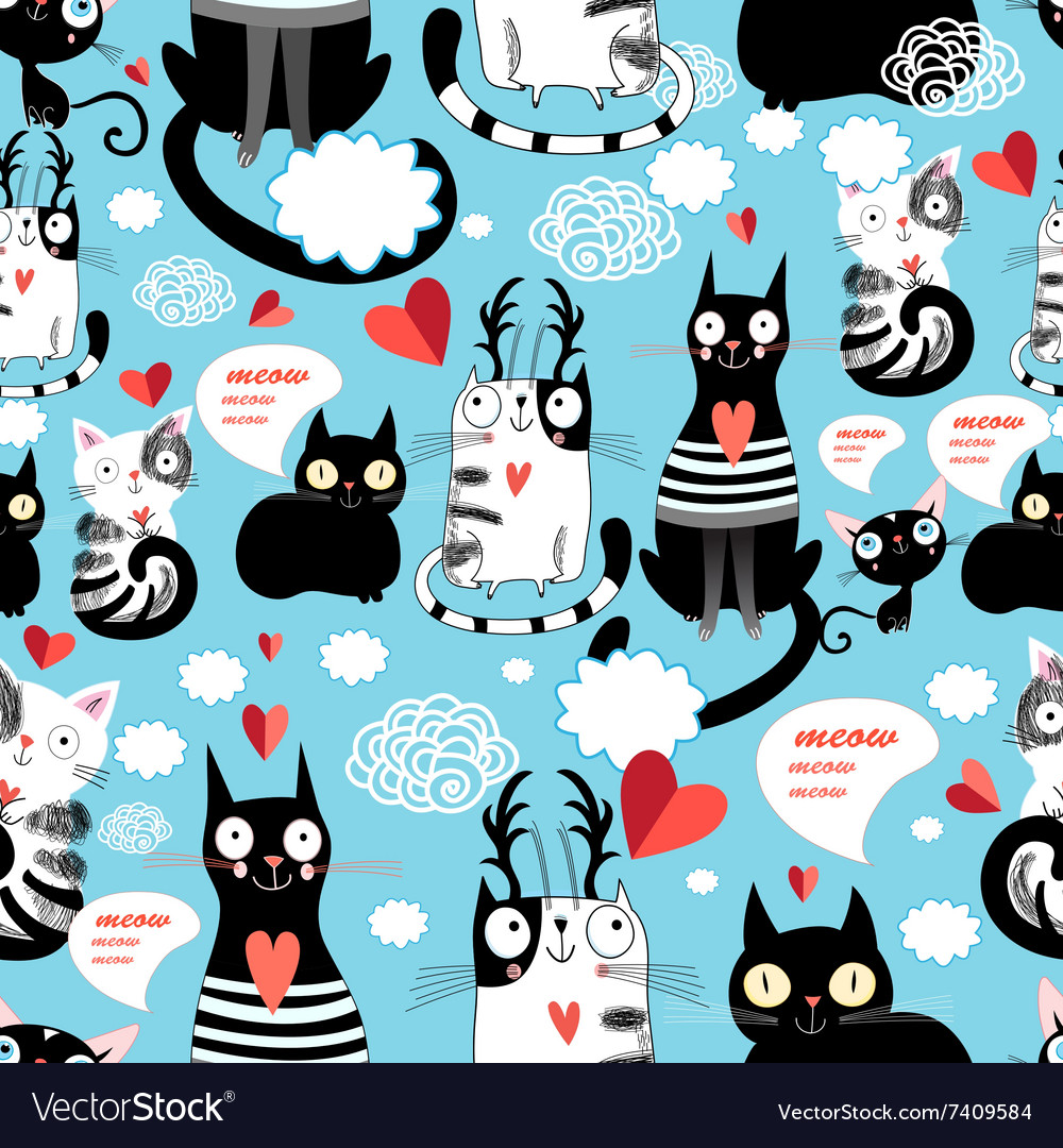 Graphic seamless pattern with hearts in love cats vector