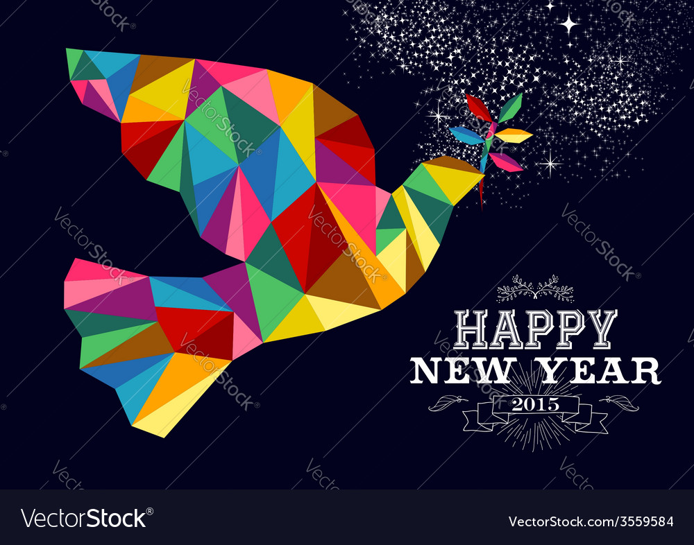 New year 2015 peace dove card vector