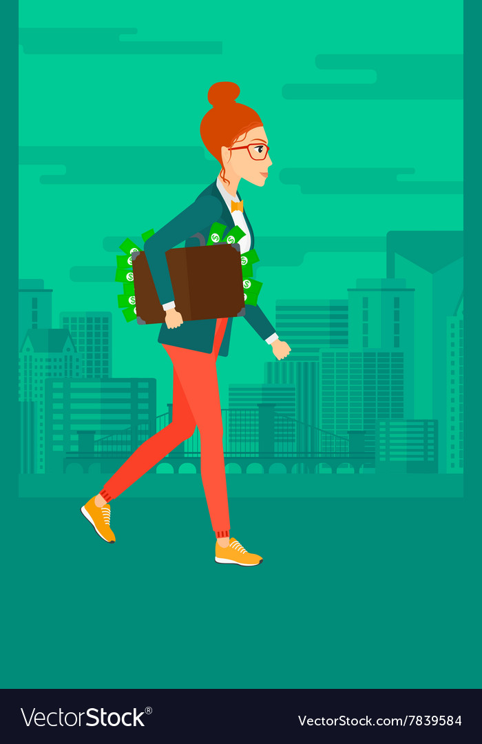 Woman with suitcase full of money vector