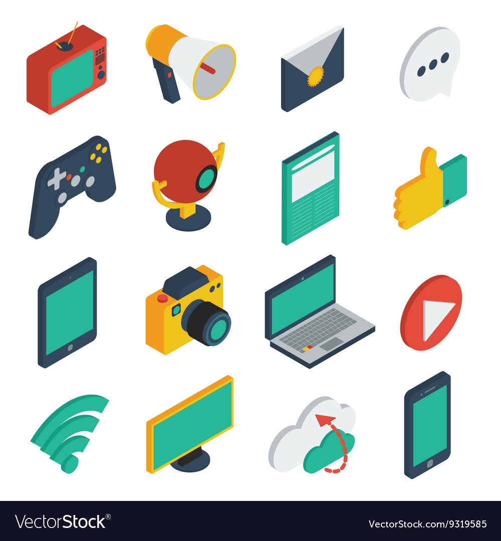 Media isometric icons set vector
