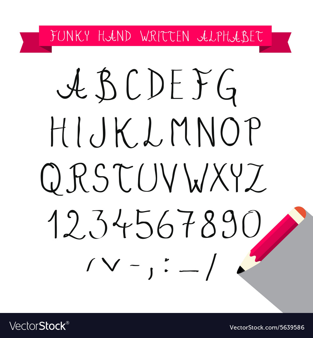 Abc  hand written sketched funky retro font  vector