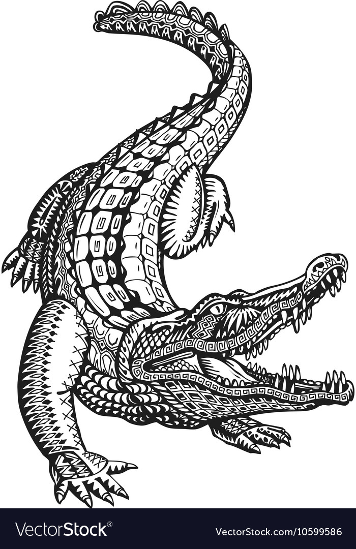 Crocodile alligator or animal painted tribal vector