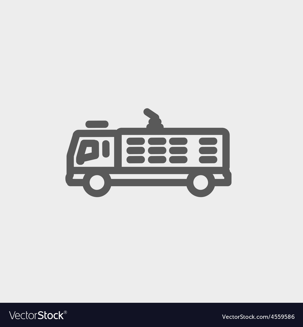 Fire truck thin line icon vector