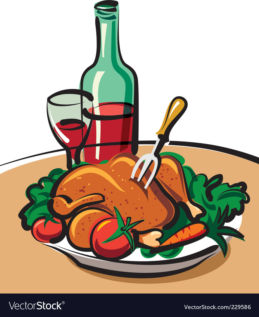 Roast chicken and red wine vector