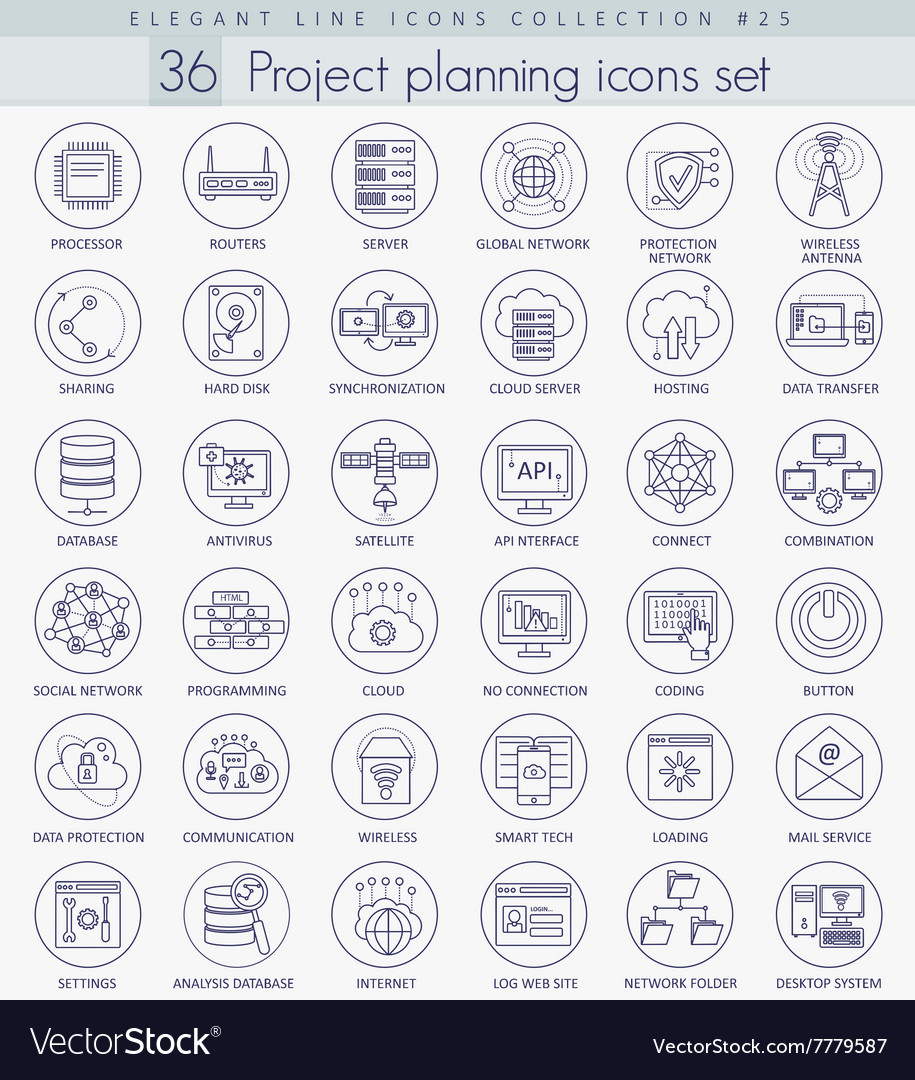 Network technology outline icon set vector
