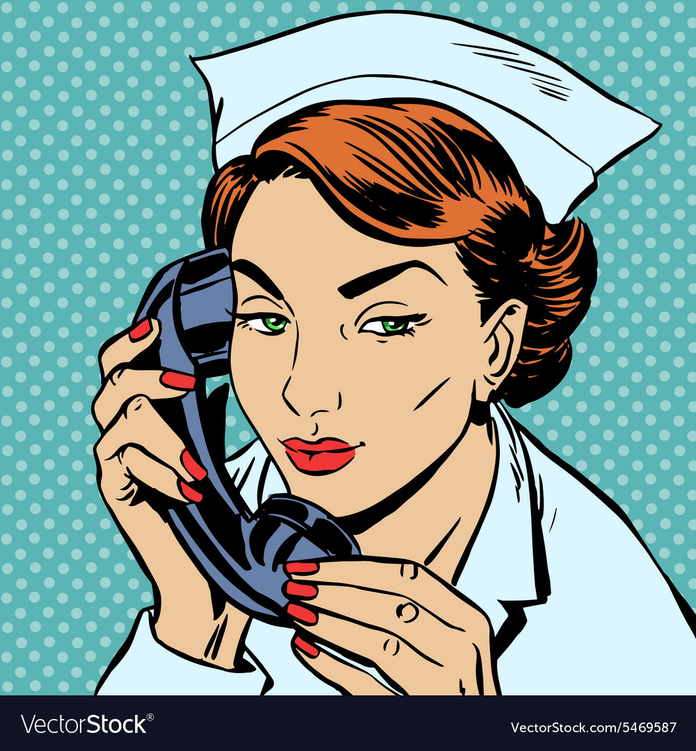 Nurse reception desk talking phone vector