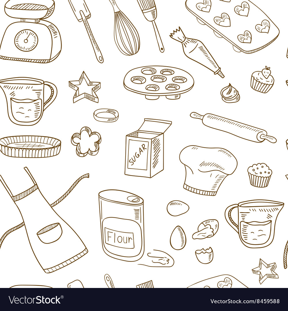 Baking tools seamless pattern hand drawn vector