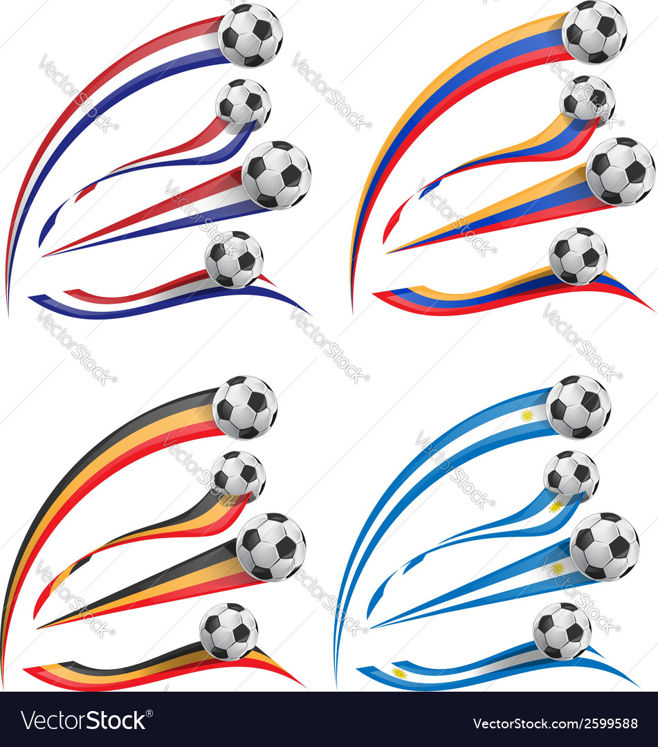 Flag set whit soccer ball vector