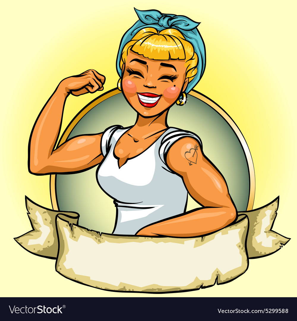 Retro girl logo design pin up vector