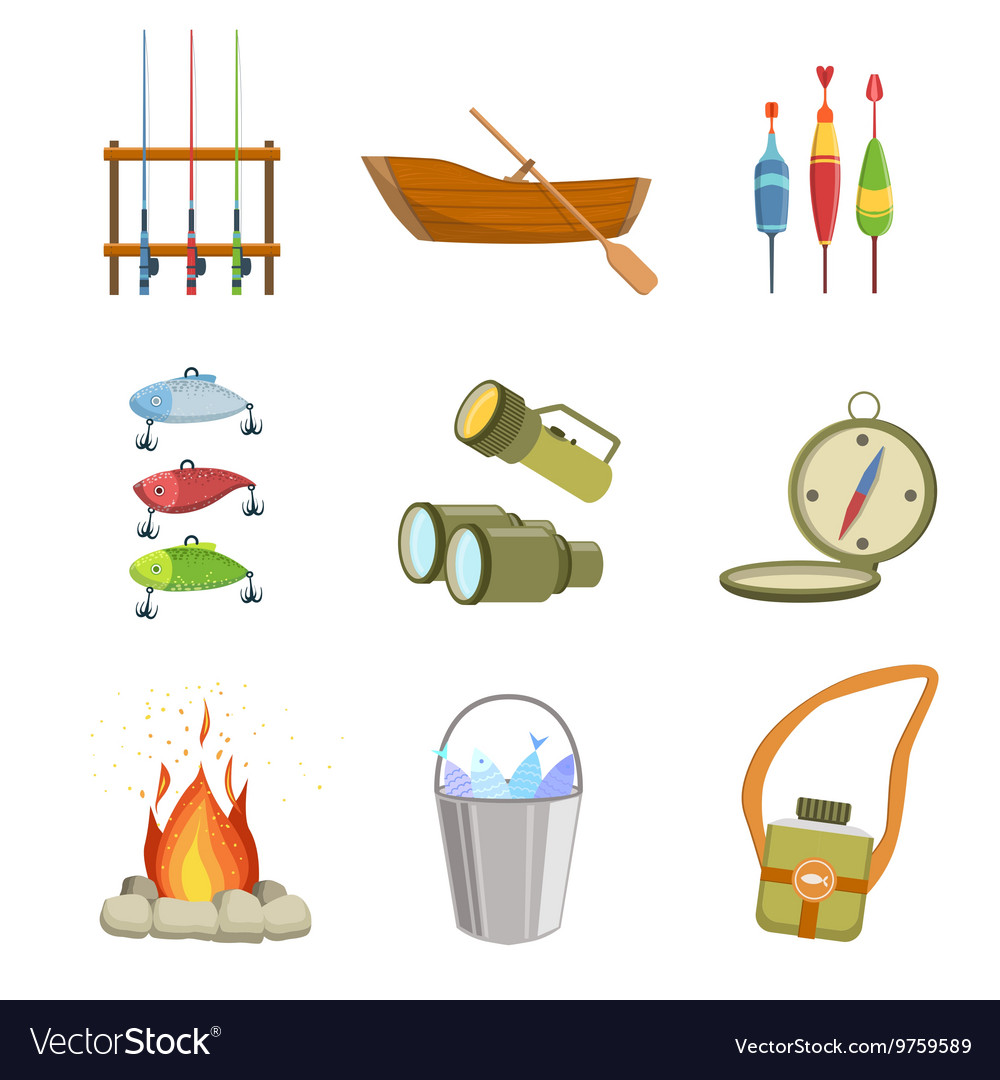Fishing and camping equipment set vector