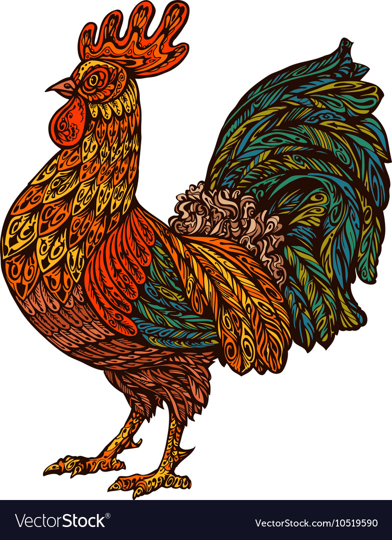 Ethnic ornamented rooster cock chinese year vector