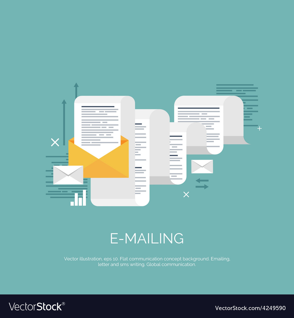 Flat emailing background vector