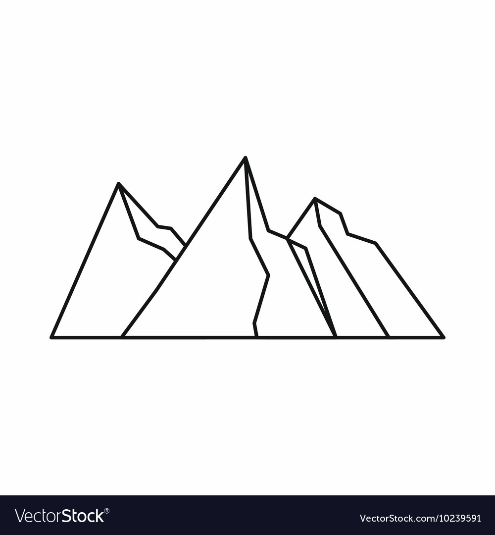 Mountains icon outline style vector