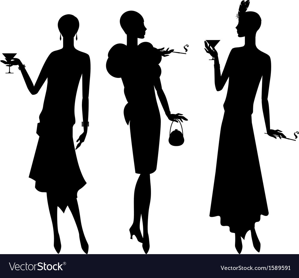 Silhouettes of beautiful girl 1920s style vector
