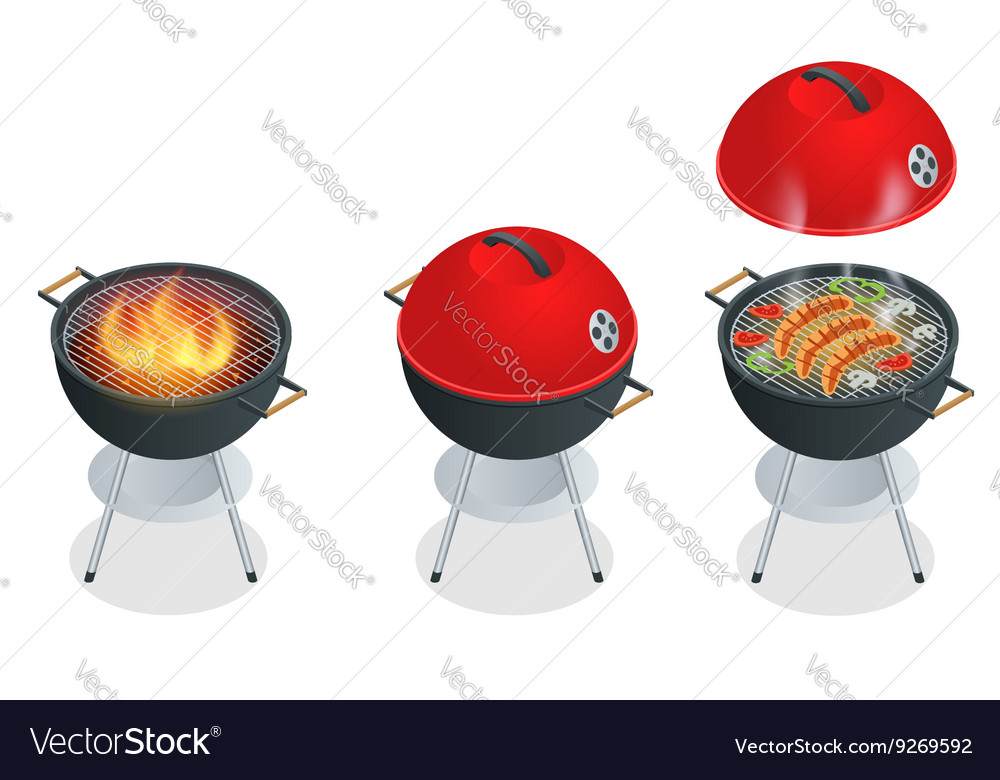 Barbecue design elements and barbecue grill summer vector