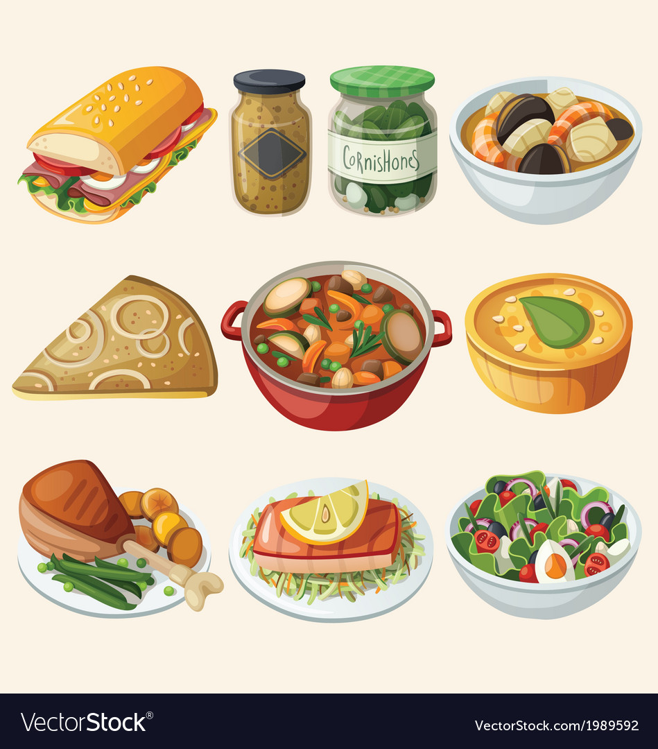 Collection of traditional french dinner meals vector