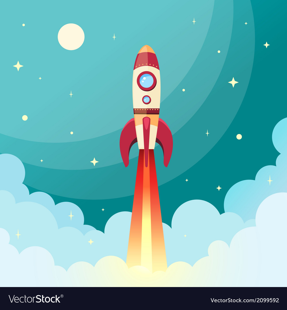 Space rocket print vector