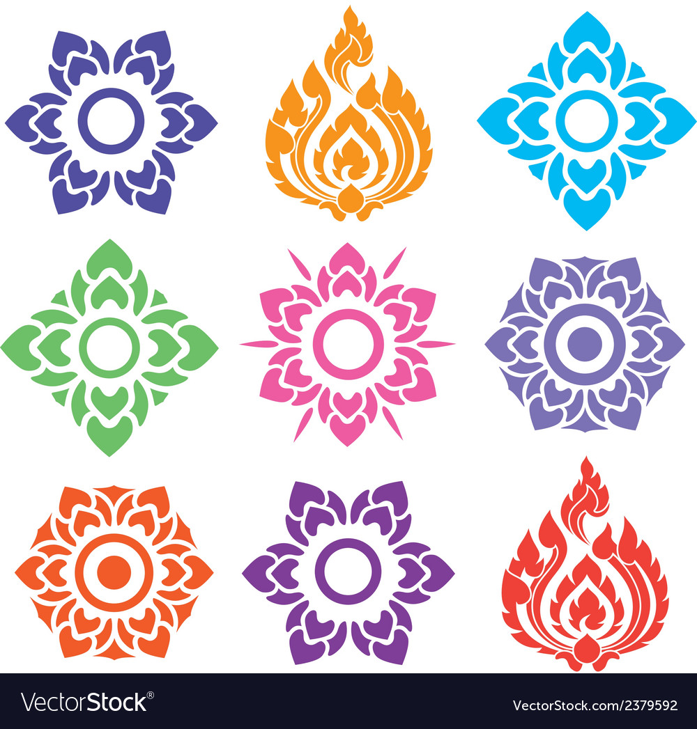 Thai pattern floral mix colorful vector
