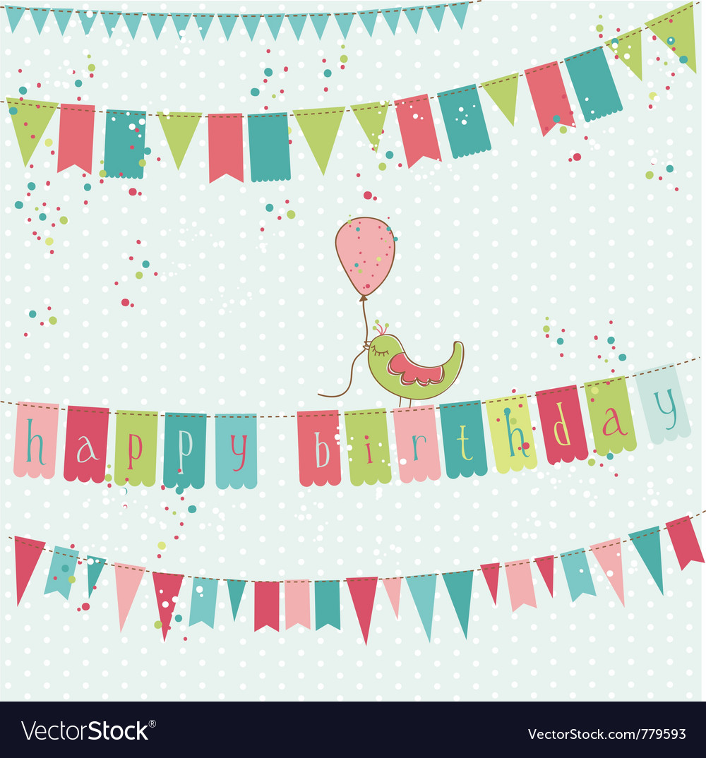 Retro birthday card vector