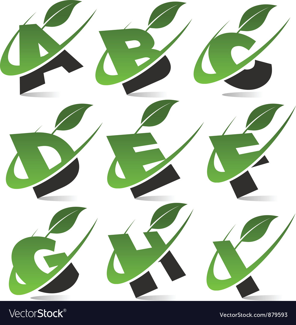Swoosh green alphabet logo set1 vector