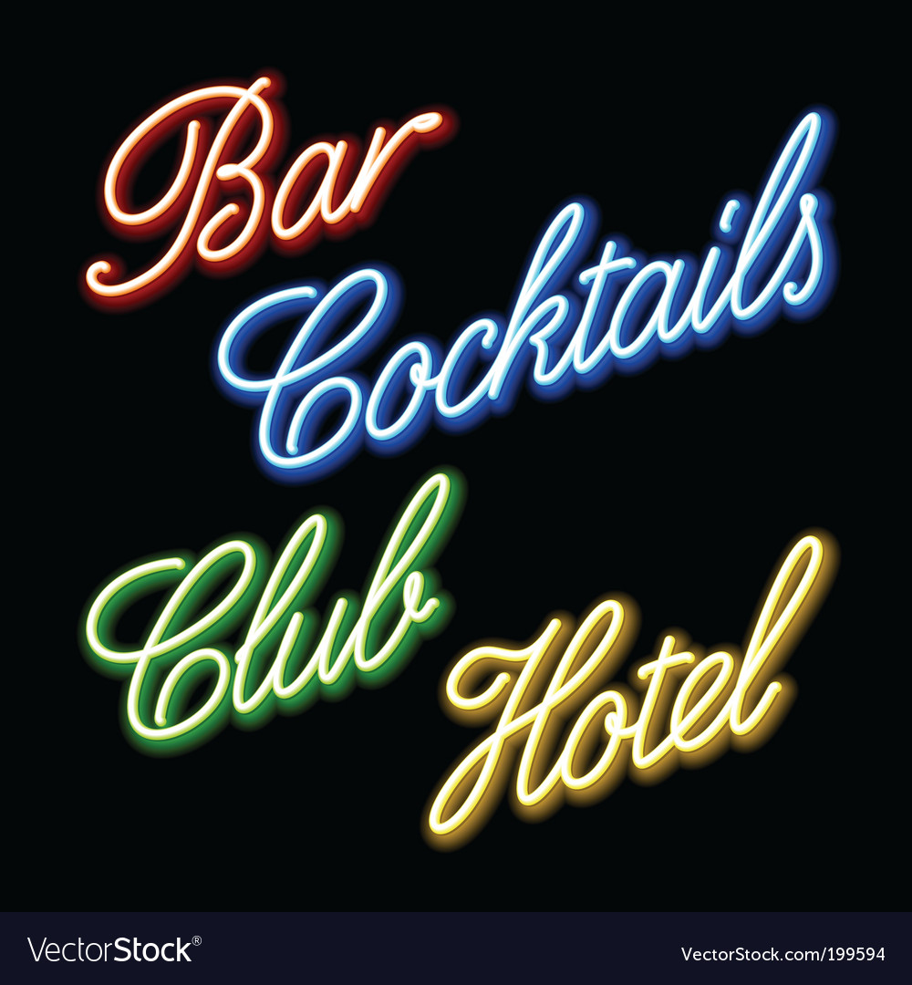 Set of glowing neon signs vector