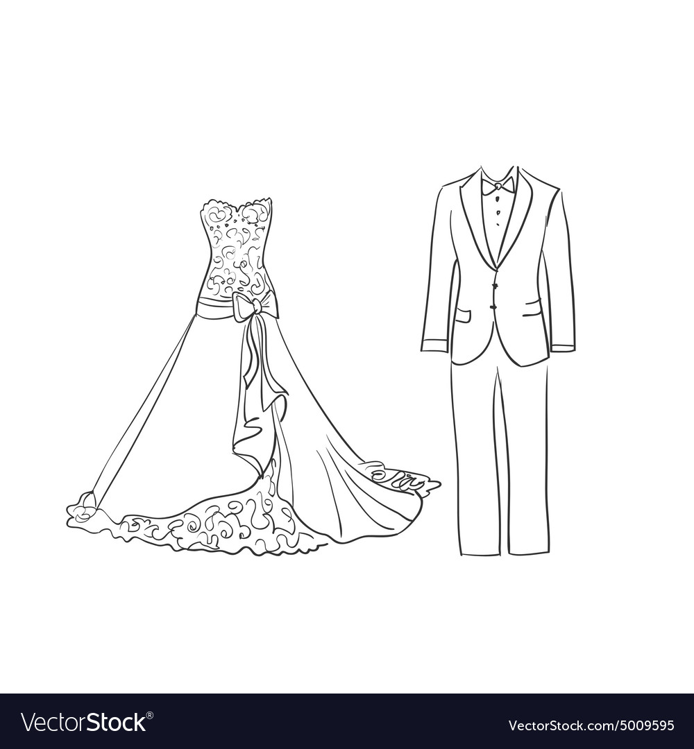Doodle wedding dress and suit vector