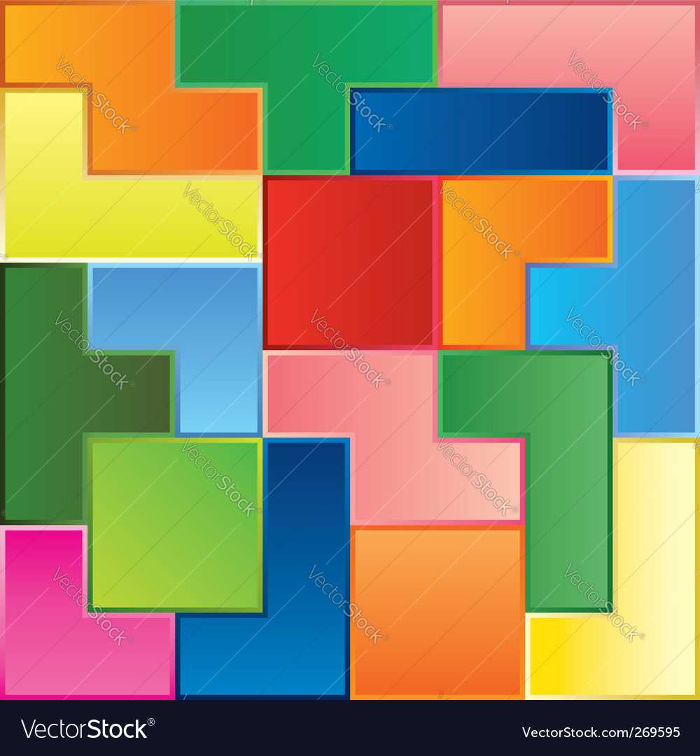 Tetris game pieces vector