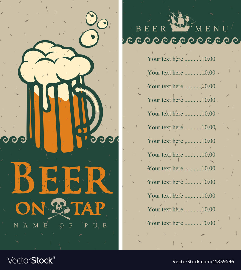 Beer menu with glass vector