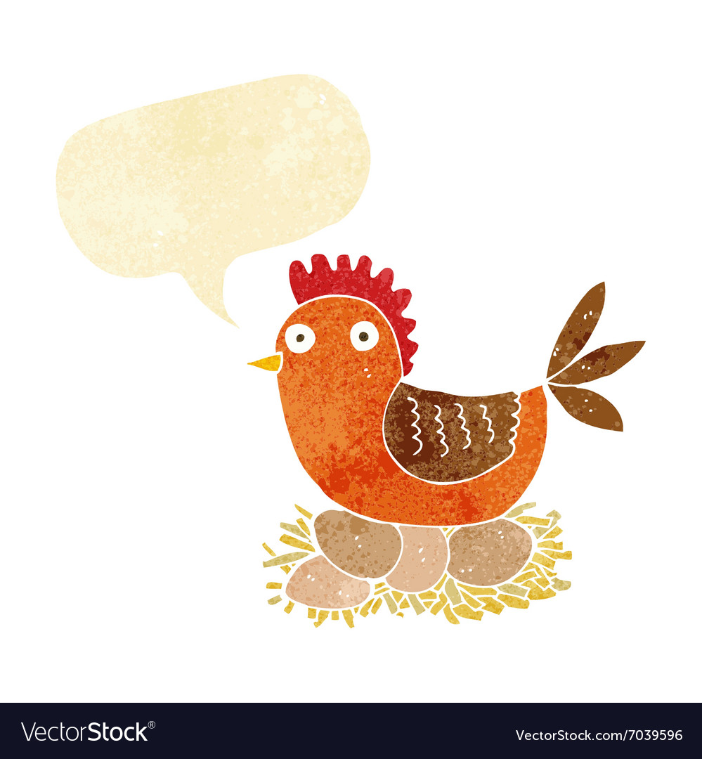 Cartoon hen on eggs with speech bubble vector