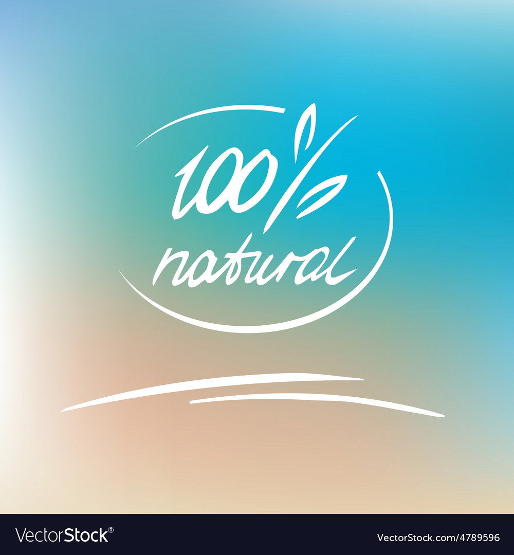Natural label logo 100 percent natural vector