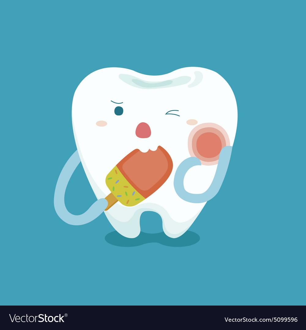 Sensitive tooth with ice cream vector