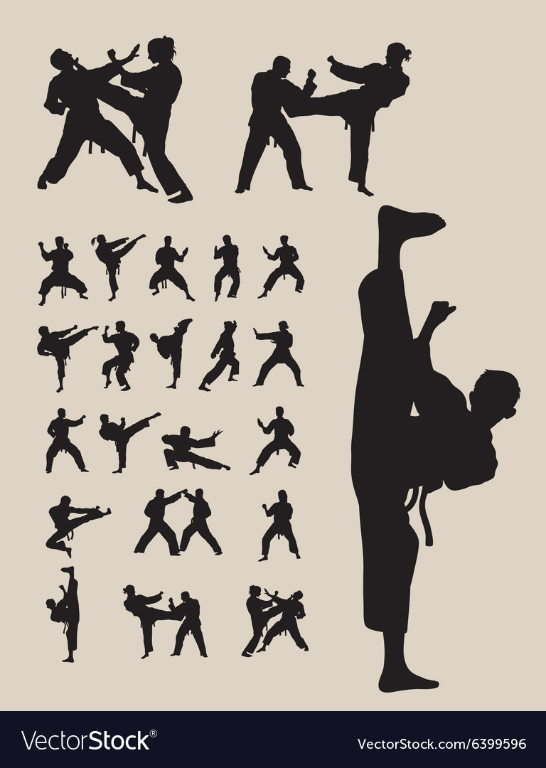 Taekwondo and karate silhouettes vector