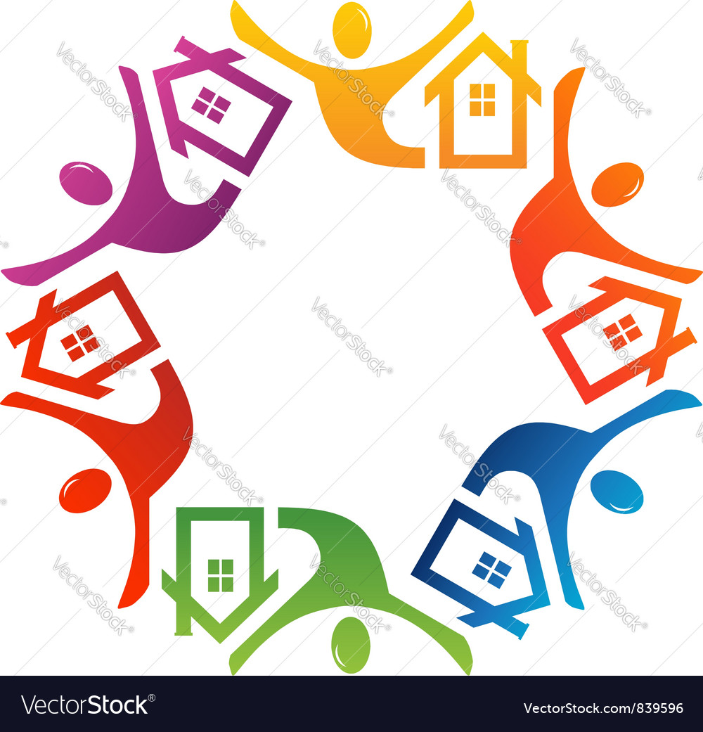 Teamwork people house vector