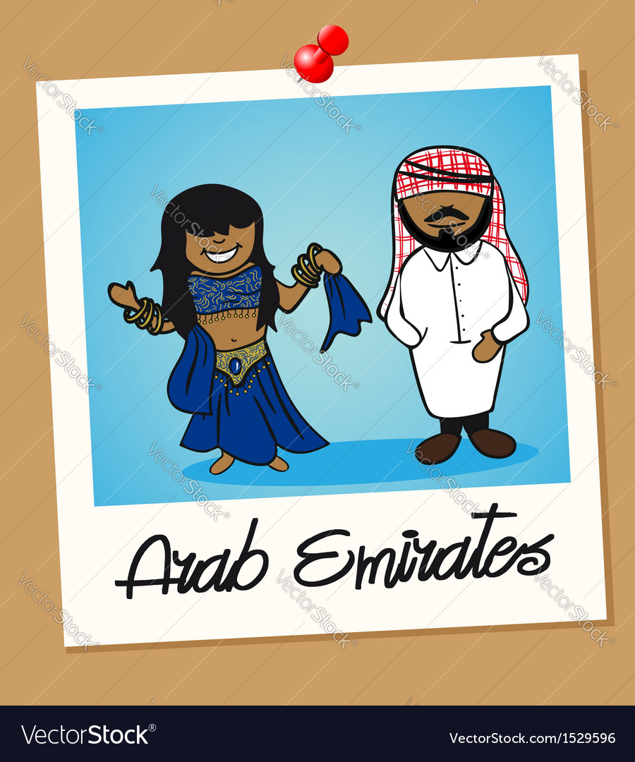 United arab emirates travel polaroid people vector