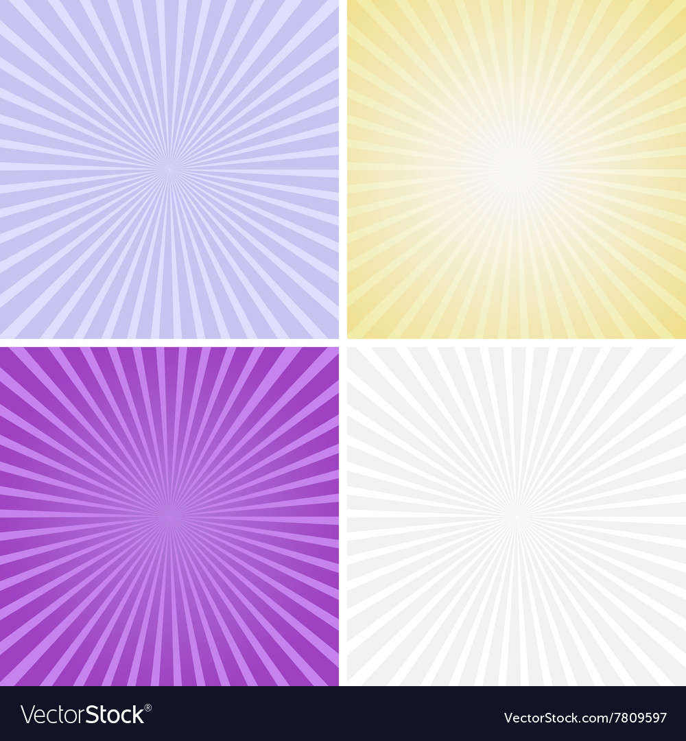 Set of color radiant backgrounds vector