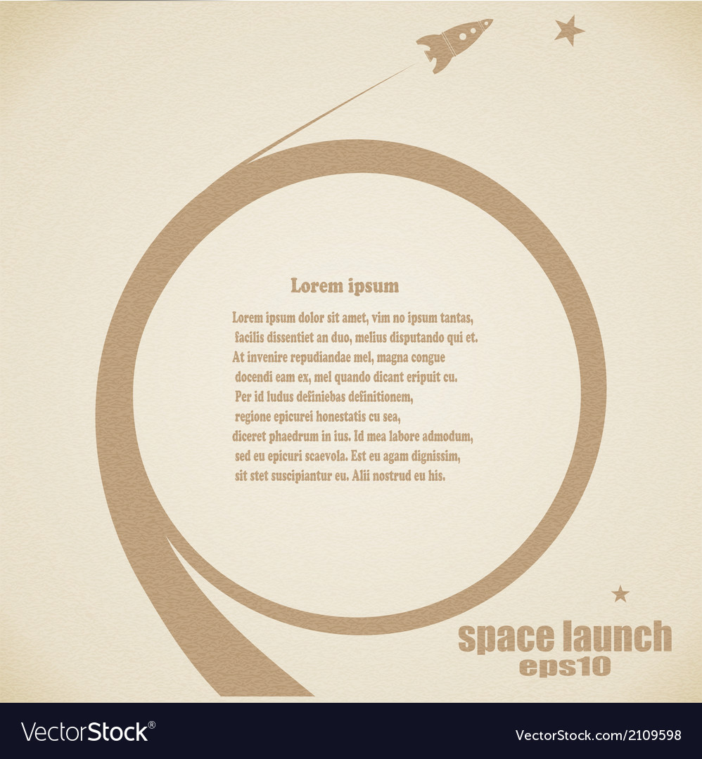 Grunge background with rocket launch vector