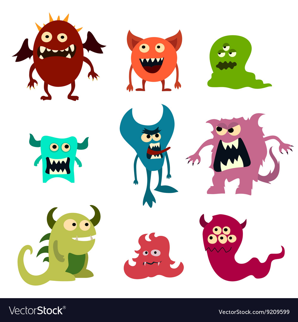 Doodle monsters set colorful toy cute alien vector