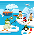 Eskimos and animals catch fish vector image