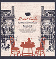 menu for sidewalk street cafe vector image vector image