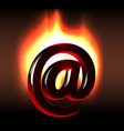 Burning in bright flames email symbol vector