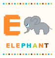 alphabet for children letter e and an elephant vector image vector image
