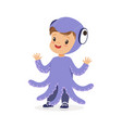 cute happy little kid dressed as a purple octopus vector image