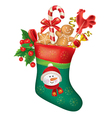 Christmas stocking with sweets vector image vector image