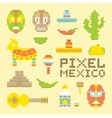 Pixel art isolated mexican objects vector image