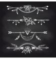 Chalk boho style arrow dividers vector image