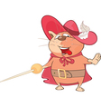 Cute Cat King Musketeer Cartoon vector image