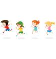 four children running around vector image