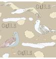 Vintage Seagulls Background vector image