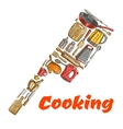 Kitchen ax hatchet emblem made of cooking utensils vector image vector image