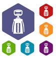 modern corkscrew icons set hexagon vector image